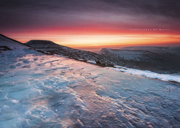 Icy winter sunrise on the Brecon Beacons Pen Y Fan and Corn Du